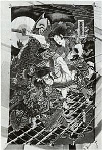 今なお江戸凧の伝統をまもっている東京上野の橋本禎三さんに手になる八犬伝の大凧。