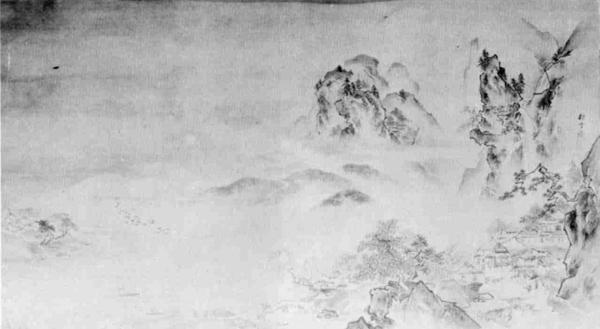 山水図  絹本墨画淡彩(56×99)