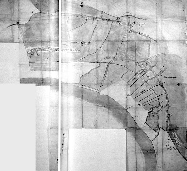 館山町・長須賀村・北条村三カ村絵図 正徳元年(1711)