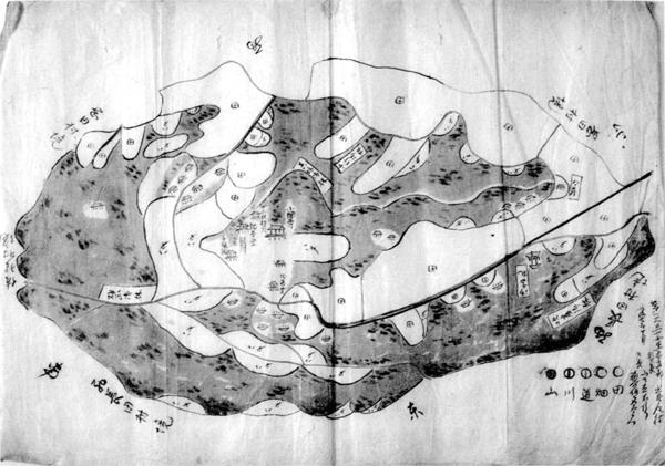 出野尾村絵図 明治7年(1874)