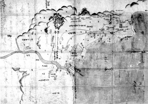 相浜村・大神宮村・犬石村巴川舟入論裁許絵図 承応3年(1654)
