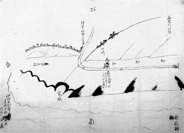 船形村・多田良村境論絵図 天保10年(1839)