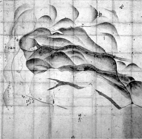 畑村・神余村山論裁許絵図 宝永2年(1705)