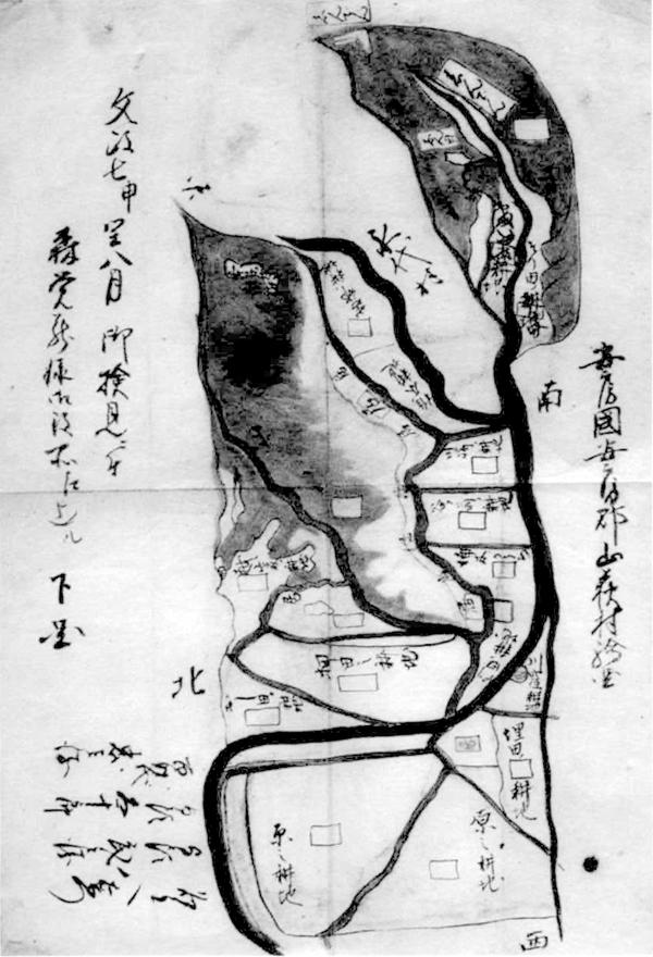 山荻村検見差出絵図 文政7年(1824)