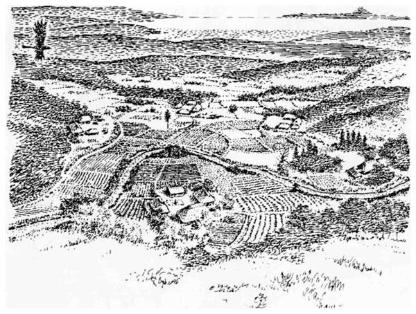 西に富士を望む安房の村