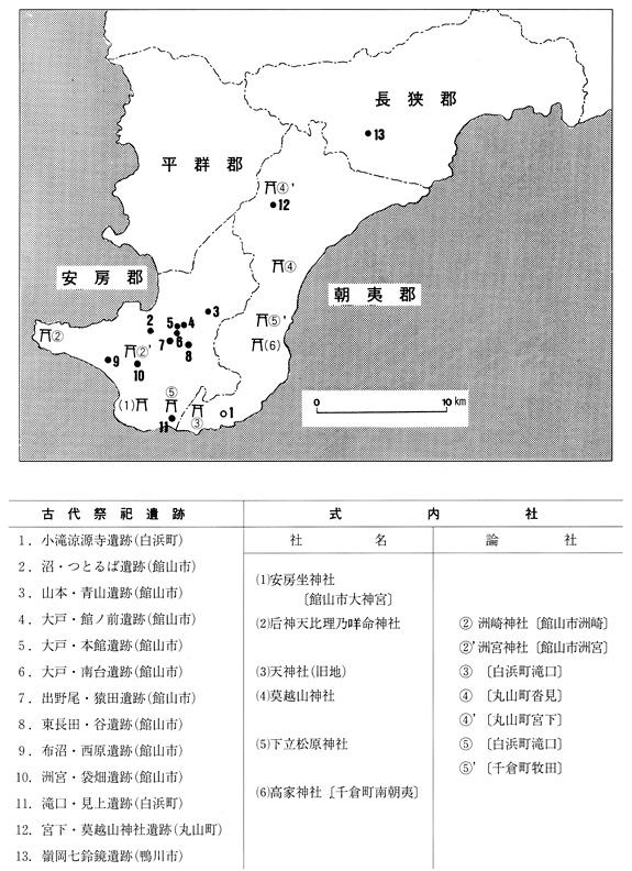 安房地方の古代祭祀遺跡・式内社分布図