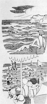 65.団扇絵版画「房州海水浴場」