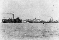 58.館山湾に居並ぶ汽船 大正時代