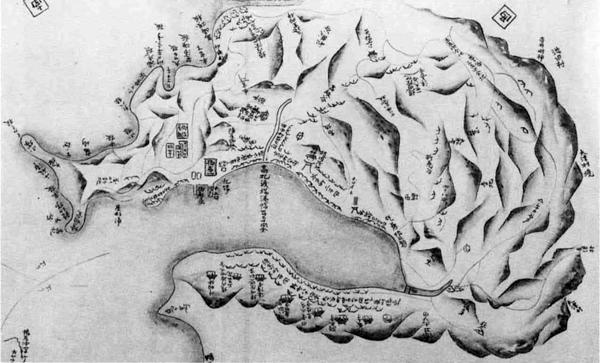 83.相州西浦賀村図(西へ山越えをしたところに吉井明神がある。安房口神社であろう。)