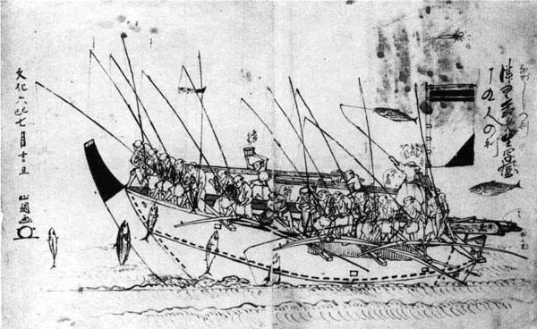 87.かつおの流し鈎図 文化6年(1809)勝山調画