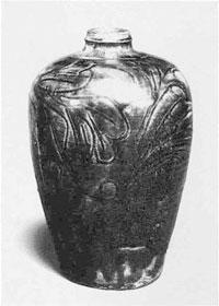 95.褐釉柏葉文瓶子(4) 14世紀