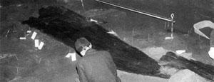 103.大寺山洞穴船形木棺の出土状況