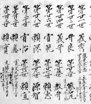 39.那古寺歴代書上(部分) 天保8年(1837)写