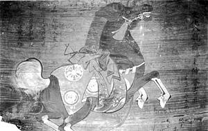 14.繋ぎ馬図絵馬 文化8年(1811) <下部欠損>