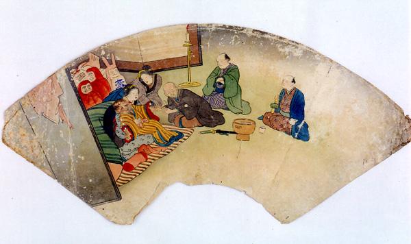 1.扇面「疱瘡を病む子ども」  国立歴史民俗博物館蔵