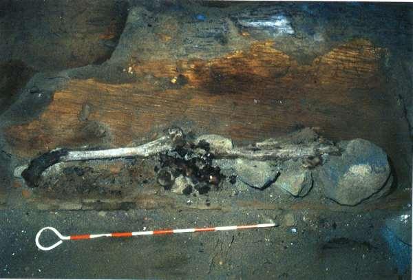 舟棺の上に埋葬された人骨 館山市大寺山洞窟遺跡