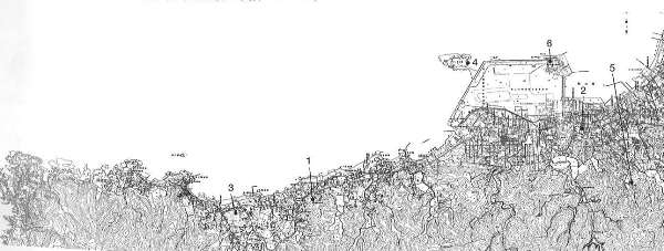 第4図 単元Ⅰ 南房総の地震隆起段丘で紹介した館山湾岸の遺跡等の分布図