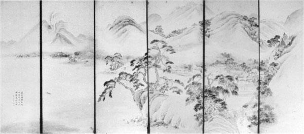 74 雲山画「猪猫代湖岸真影之図」  白浜町中央公民館