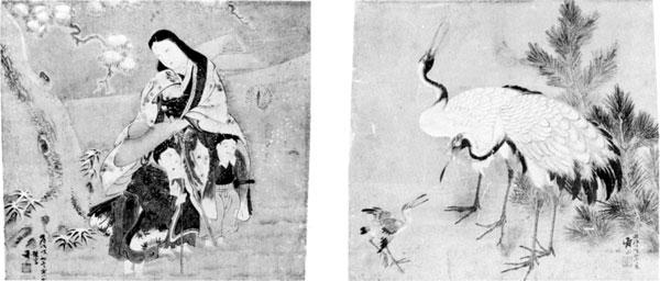 左:75「常磐御前図」・右:76「鶴図」 鈴木寿山画<br /> 明治31年(1898年) 館山市安東 高橋弥太郎氏