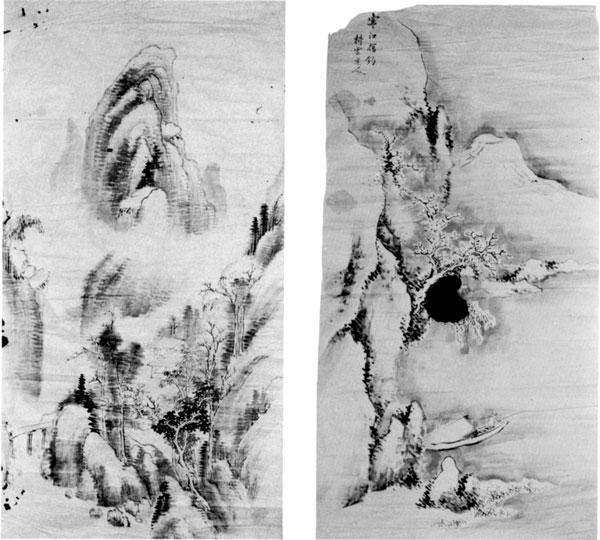 左:78「山水画」・右:79 耕雲画「寒江独釣図」  館山市沼 川名桂氏