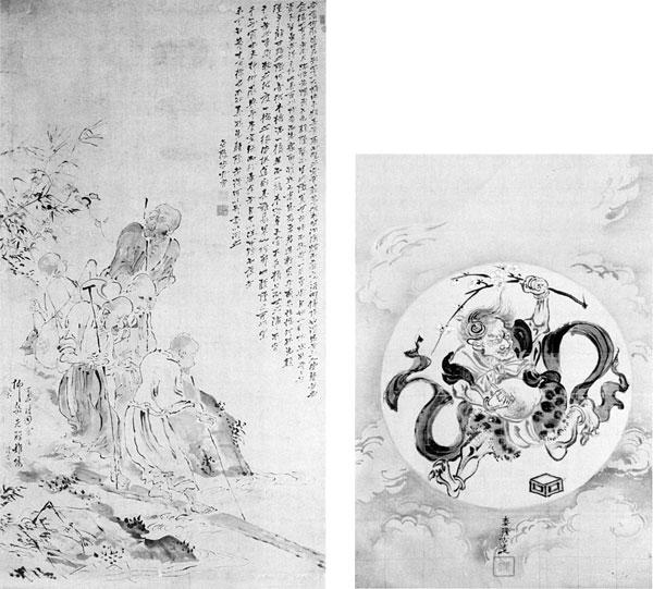 左:2.高久隆古画・芳野金陵題「盲人渡橋之画」 右:1.高久隆古画「魁之画」
