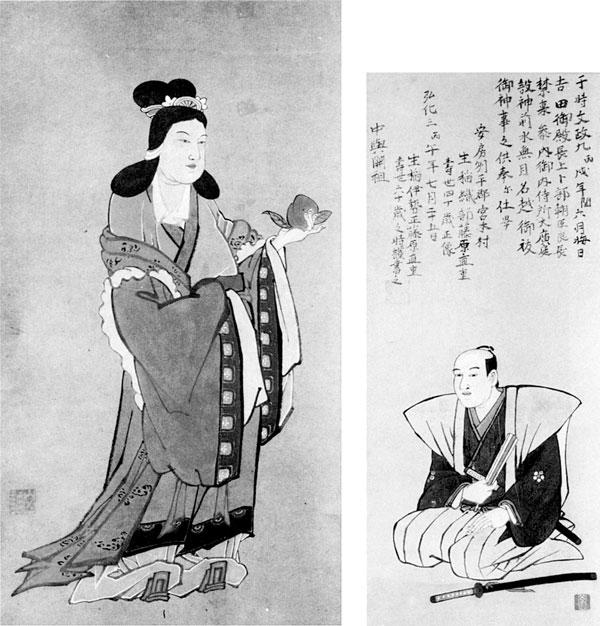 左:10.山調画「西王母{せいおうぼ}」 右:11.山調画「生稲直重肖像」 生稲謹爾氏蔵