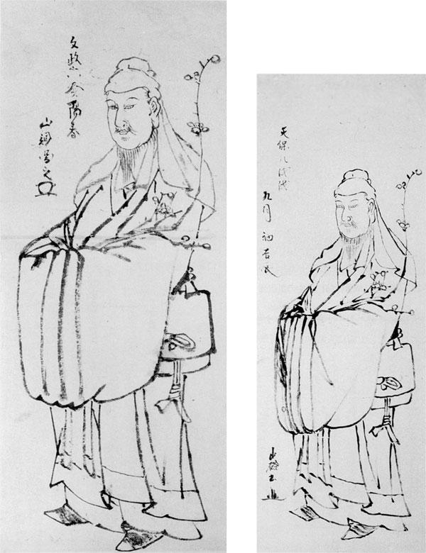 左:24.山調画「渡唐天神図」 文政6年(1823年) 右:25.山硲画「渡唐天神図」 天保8年(1837年)