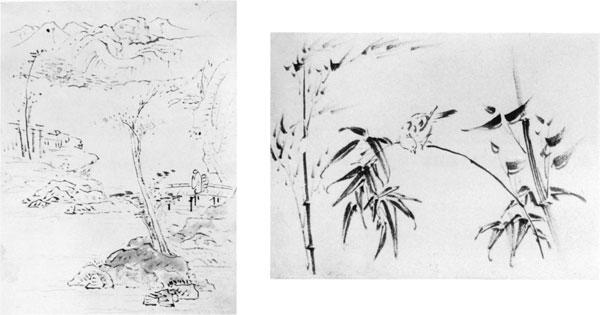 左:52.山調画「山水図」 習作 右:53.山調画「竹に小禽図」 『山水図集』所収