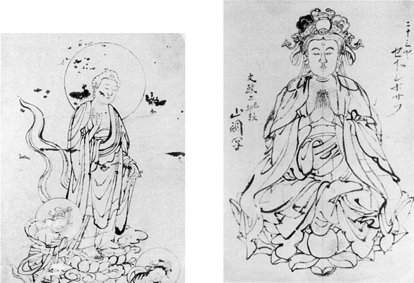 左:60.山調画「弥陀三尊来迎図」 右:61.山調画「二十三夜勢至菩薩図」 文政2年(1819年)
