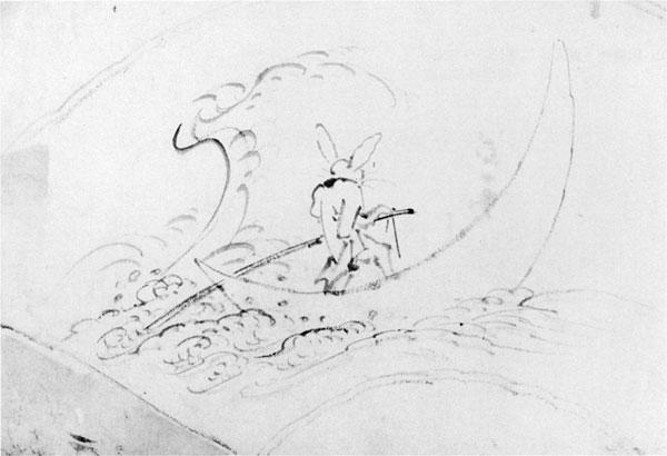 73.山調画「波に兎図」