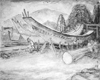 安房開拓神話「船出の図」  40  神武天皇の御代造船の図