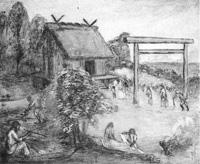 安房開拓神話「参拝の図」  39  下立松原神社神武元年創立の図