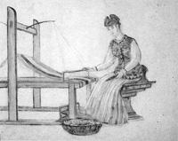 安房開拓神話「機織の図」  38  天富命の御娘飯長姫命の図