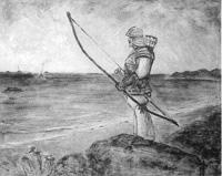 安房開拓神話「武人の図」  37  日鷲翔矢の図
