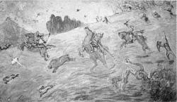 官幣大社安房神社縁起壁画  「天富命猛獣を狩り尽くし給う図」