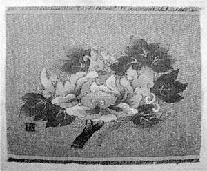 秋野作 綴錦織「ぼたん図」